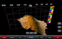 Kun kalojen syvyydet on korostettu ja syvyydet näkyvät sateenkaaren väreissä RealVü 3D alas -tilassa, näet kalat helposti harjanteen yläpuolella.