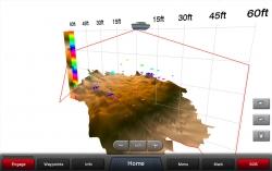 LiveVü alas näyttää toiminnan reaaliaikaisesti. Tässä kuvaotoksessa kalaparvi jahtaa uistinta.