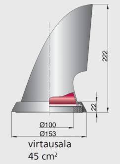 Vetus Joutsenkaulaventtiili MARIN, synteettinen punainen sisus 100 mm sis. kiinnitysrenkaan