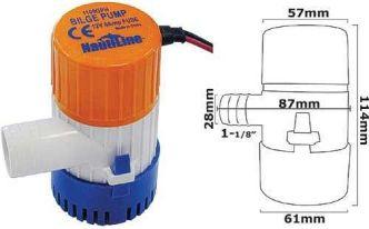 Nautiline 1100 GPH pilssipumppu - 12 V, 6A