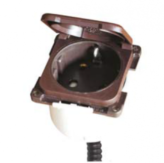 Defa PowerSystems kannellinen upotettava pistorasia, ruskea