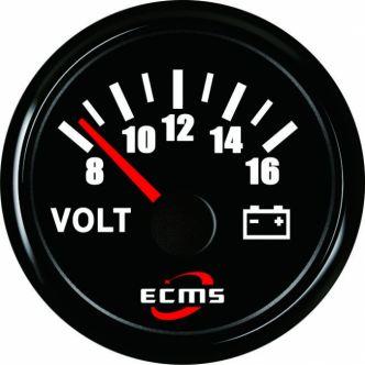 ECMS jännitemittari 52 mm, musta