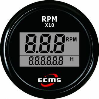 ECMS digitaalinen kierroslukumittari 52 mm, musta