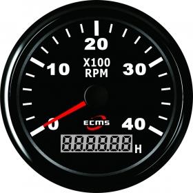 ECMS kierroslukumittari 0-4000 LCD-näytöllä 85 mm, musta