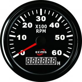 ECMS kierroslukumittari 0-6000 LCD-näytöllä 85 mm, musta