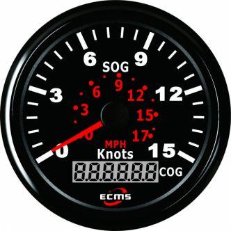 ECMS GPS nopeusmittari 15 solmua, 85 mm, musta