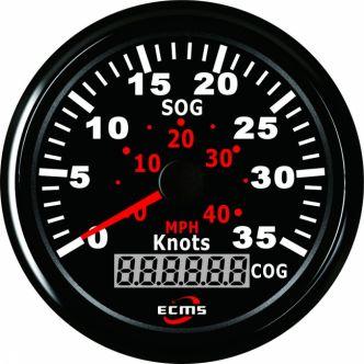 ECMS GPS nopeusmittari 35 solmua, 85 mm, musta