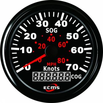 ECMS GPS nopeusmittari 70 solmua, 85 mm, musta