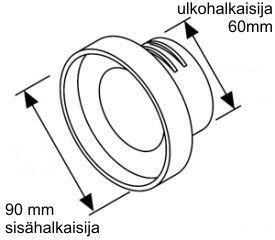 Webasto supistuskappale 90 mm Y-haaraan, 60 mm letku