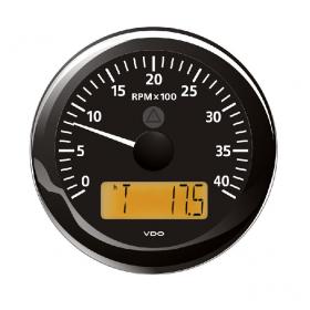 VDO kierroslukumittari 0-4000 rpm LCD-näytöllä 85 mm, musta