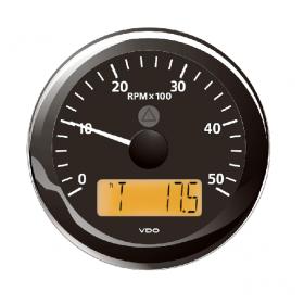 VDO kierroslukumittari 0-5000 rpm LCD-näytöllä 85 mm, musta