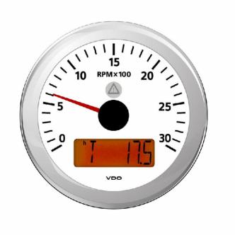 VDO kierroslukumittari 0-3000 rpm LCD-näytöllä 85 mm, valkoinen