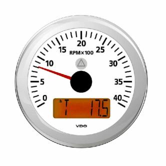 VDO kierroslukumittari 0-4000 rpm LCD-näytöllä 85 mm, valkoinen