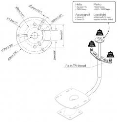 Scanstrut antenni-/valomasto PowerTower® alumiinijalalle