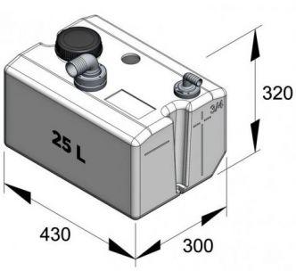 Vetus Septitankki 25 l, sisältää liittimet (ei täyttö) sekä tarkistusluukun