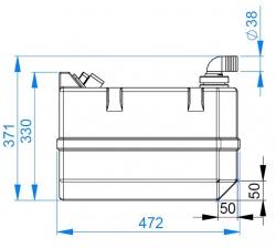 Vetus Septitankki 40 l, sisältää liittimet (ei täyttö) sekä tarkistusluukun