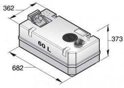 Vetus Septitankki 60 l, sisältää liittimet (ei täyttö) sekä tarkistusluukun