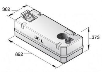 Vetus Septitankki 80 l, sisältää liittimet (ei täyttö) sekä tarkistusluukun