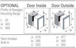 Vaadittavat asennustilan mitat 'Ovi tasan' tai 'Ovi  koholla' asennustavoille lisävarusteisella asennuskehyksellä: