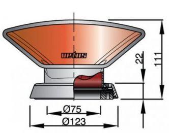 Vetus DON316 joutsenkaulaventtiili rst AISI316, punaisella sisuksella  (sis. rst asennusrenkaan)