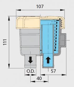"""Vetus Suodatin malli 140, letkuliitännät 13 mm (1/2"""")"""