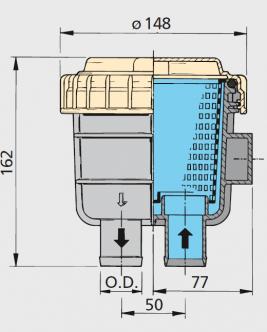 """Vetus suodatin malli 330, letkuliitännät 32 mm (1 1/4"""")"""