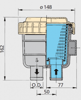 """Vetus suodatin malli 330, letkuliitännät 38 mm (1 1/2"""")"""
