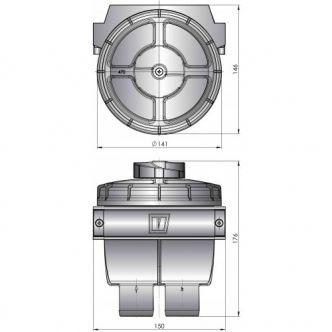 """Vetus suodatin malli 470, letkuliitännät 32 mm (1 1/4"""")"""