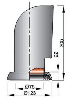 Vetus JERRY316 joutsenkaulaventtiili rst AISI316, punaisella sisuksella (sis. rst asennusrenkaan)