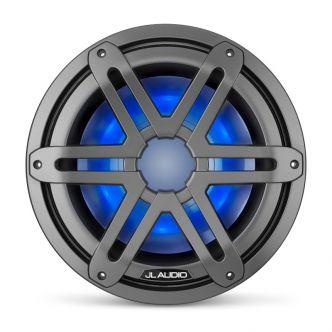 """JL Audio 10"""" M3-10IB Subwoofer asemetallin värisellä Sport-ritilällä sekä LED-valaistuksella"""