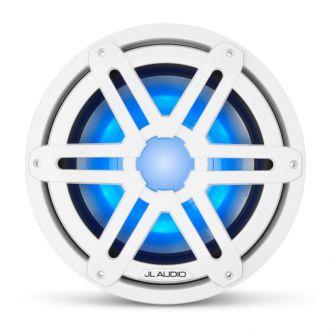 """JL Audio 10"""" M3-10IB Subwoofer valkoisella Sport-ritilällä sekä LED-valaistuksella"""