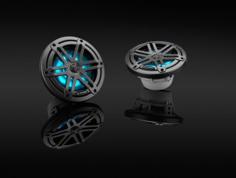 """JL Audio 6.5"""" M3-650x kaiutinpari aseharmaalla Sport-ritilällä ja RGB LED-valolla"""