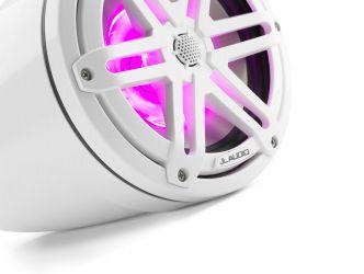 """JL Audio 7.7"""" koteloitu M3-770ETXv3 valkoinen kaiutinpari Sport-ritilällä ja LED-valaistuksella"""
