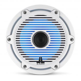 """JL Audio 6.5"""" M6-650x kaiutinpari valkoisella Classic-ritilällä ja rungolla sekä LED-valaistuksella"""