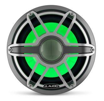"""JL Audio 12"""" M7-12IB Subwoofer titaaninvärisellä Sport-ritilällä ja aseharmaalla rungolla sekä LED-valaistuksella"""