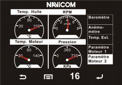 Esimerkkikuva moottoritietojen näytöstä NMEA 2000 verkossa olevalta moottorilta
