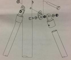 Tukijalkojen kiinnitys perätolpan korvakkeisiin (Korvakkeet kuuluvat perätolpan varustukseen)