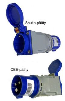 CEE<->Schuko -adapteri