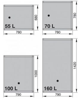 Vetus septisäiliö, joustava 70 l (sis. liittimet 90°, Ø 16 ja 2 x Ø 38 mm)