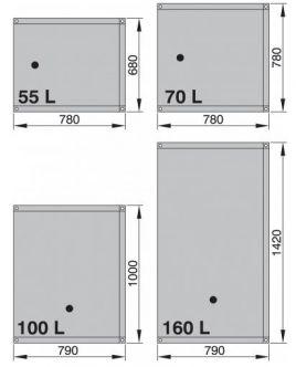Vetus septisäiliö, joustava 160 l (sis. liittimet 90°, Ø 16 ja 2 x Ø 38 mm)