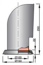 Vetus TOM316 joutsenkaulaventtiili rst AISI316, punaisella sisuksella (sis. rst asennusrenkaan)