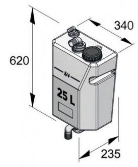 Vetus seinäasennettava pystymallinen septitankki 25 l ilman tuloliitäntää