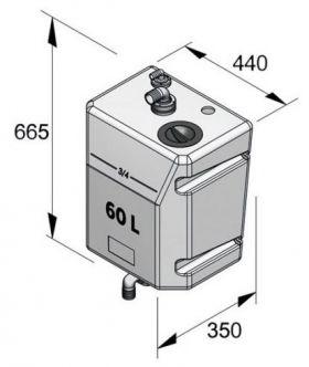 Vetus seinäasennettava pystymallinen septitankki 60 l ilman tuloliitäntää