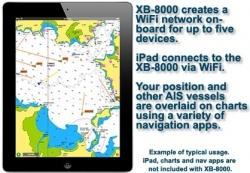 Vesper Marine XB-8000 luo veneeseesi lanaggtoman WiFi verkon johon voit yhdistää 5 eri laitetta. WiFi:n avulla voit tuoda AIS tiedot erillaisiin iPad tai muihin PC ja tabletti sovelluksiin.