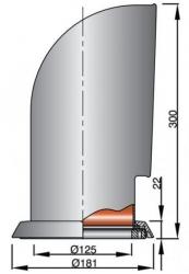 Vetus YOGI316 joutsenkaulaventtiili rst AISI316, punaisella sisuksella  (sis. rst asennusrenkaan)