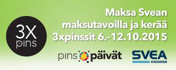 Maksa Svean osamaksulla tai laskulla ja saat tripla-Pinssit 6.-12.10. ostoksista!